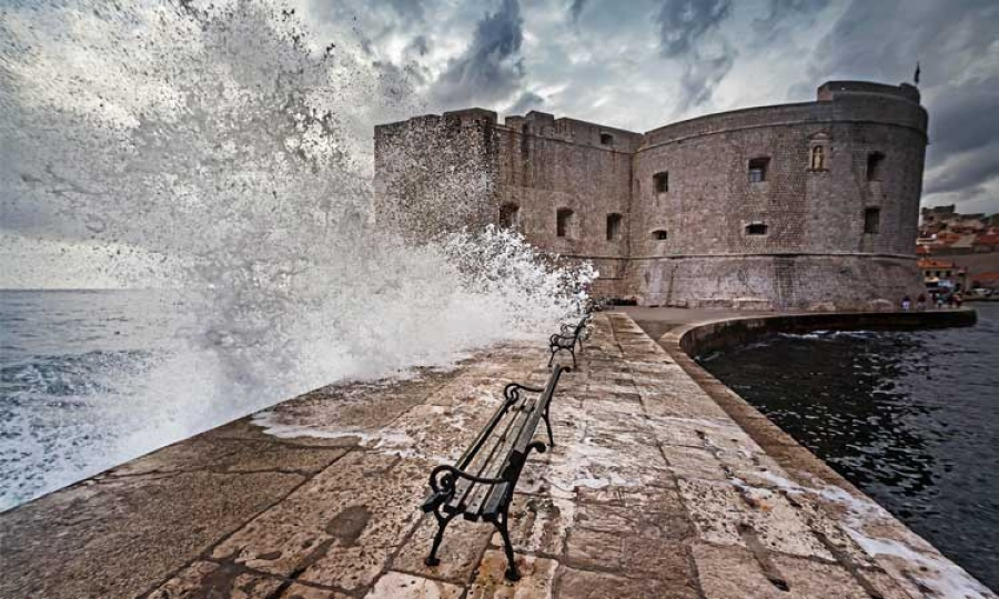 Catch the waves on a stormy day in Dubrovnik