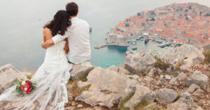 Couple having wedding photography in romantic place in Dubrovnik